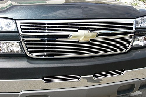- Grillcraft CHE1506-BAO BG Series Polished Aluminum Upper 2pc Billet Grill Grille Insert for Chevy Silverado