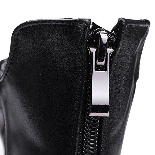 Closed Zipper Boots Low Toe Low Round Heels Allhqfashion top PU Black Women's qTRBgxat