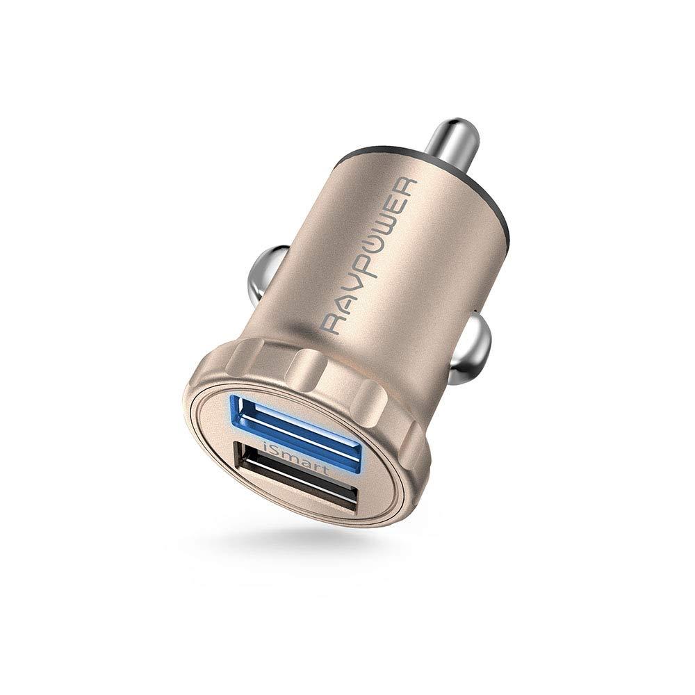 Auto Ladegerä t RAVPower 2-Port 24W 4,8A Super Mini USB Ladeadapter mit iSmart Technologie fü r iPhone X XR XS Max 8 7 6 Plus, iPad Pro Air Mini, Galaxy S9 S8 Plus, Huawei, HTC, Mp3 usw. Schwarz RVAPower DE RP-PC031(N)