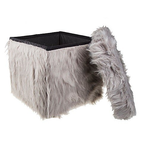 Stylish Mongolian Fur Collapsible Storage Cube in Grey