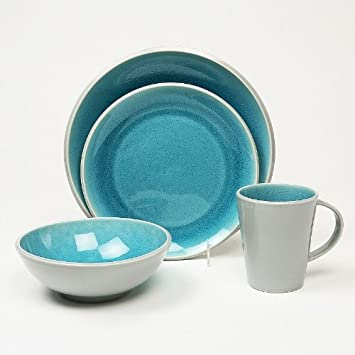 Amazon.com | Baum Canvas Teal 16-pc. Dinnerware Set: Dinnerware Sets