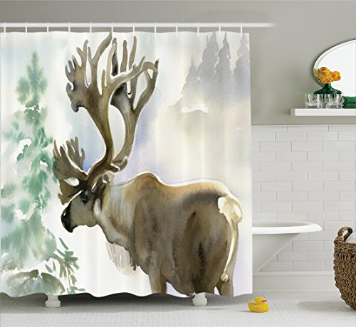Antlers Decor Shower Curtain Set by Ambesonne, Moose in Winter Forest Wildlife Reindeer Christmas Theme Watercolor Painting Style Art, Bathroom Accessories, 75 Inches Long, Beige - Watercolor Winter Paintings
