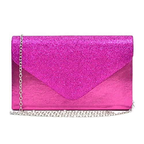 Womens Envelope Flap Clutch Handbag Evening Bag Purse Glitter Frosted Sequin Party Hot Pink by MKY