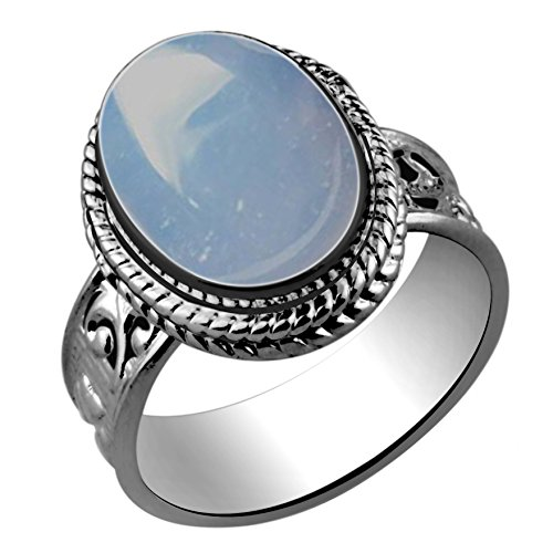 5.60ctw,Genuine Chalcedony 10x14mm Oval & .925 Silver Plated Handmade Ring (Size-8)