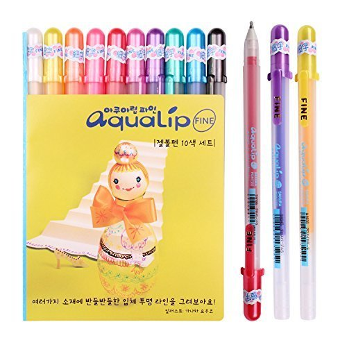 (Sakura Pgb10c51 Aqualip 10-Piece Gelly Roll Blister Card Gel Ink Pen Set, Fine Point 0.6mm, Assorted Colors)