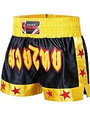FARABI Pantalones Cortos Sports para MMA, Boxeo, Muay Thai, Lucha, Entrenamiento, Gimnasio, Kick Boxing, Color Negro, Rojo y Azul, para Hombre, para Artes Marciales