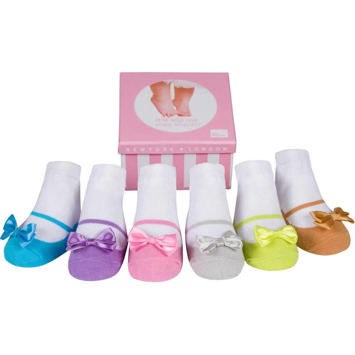 Baby Emporio 6 pares de calcetines para bebé niña - Suelas antideslizantes - Algodón suave - Cajita regalo - Efecto zapatos - 0-12 meses ALLURA) Mary Jane