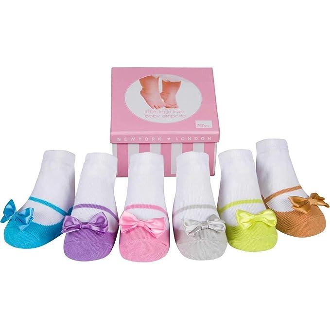 Baby Emporio 6 pares de calcetines para bebé niña - Suelas antideslizantes - Algodón suave - Cajita regalo - Efecto zapatos