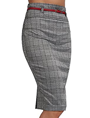 NE PEOPLE Womens Basic Solid Knee Length Work Office Pencil Skirts with Belt