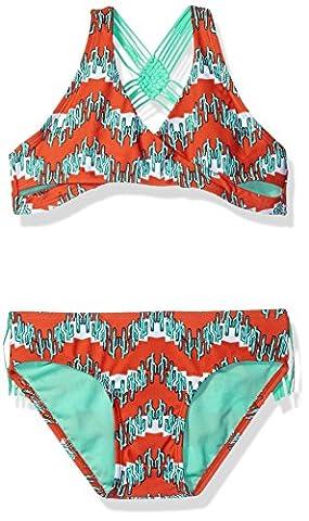 Gossip Girl Big Girls' Boho Cactus Two Piece Bikini Swimsuit, Brown, 10 - Brown 2 Piece Bikini Swimsuit