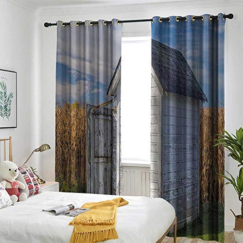 AndyTours Outhouse Doorway Curtain Country Farm Life Cottage with Wheat and Grass Under Sky Image Energy Efficient, Room Darkening 84