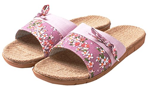 Blubi Womens Flower Print Open Toe Flax Summer Slippers Light House Slippers Purple 5N7HP8s