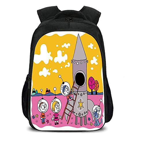 iPrint 15.7'' School Backpack,Cartoon,Hero Astronaut Kids with Rocket Space Ship Childhood Dream Fun Artwork Print,Yellow Fuchsia,for Teenagers Girls Boys by iPrint