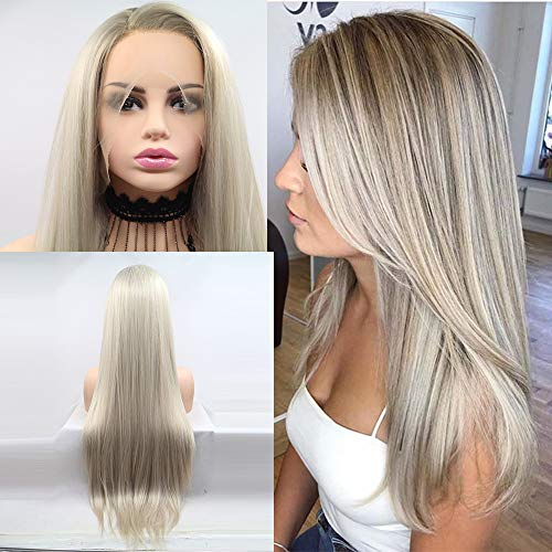 Xiweiya Ombre long blonde silky straight synthetic lace front wigs with Light Roots for women, Drag Queen with Heat…