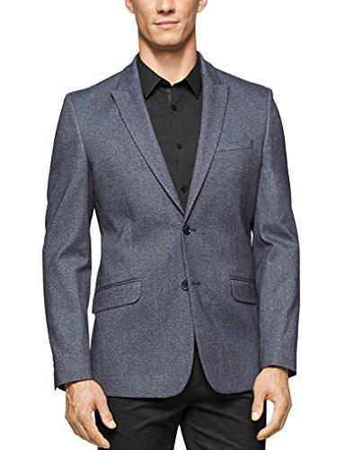 Calvin Klein Slim Fit Charcoal Heather Stretch Blazer Sportcoat With Peak Lapels ()