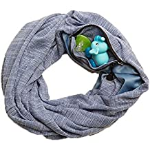 SHOLDIT Nursing Scarf with Pocket, Folds into Clutch purse, Breast feeding Cover Up & Scarves- HAZE PERIWINKLE
