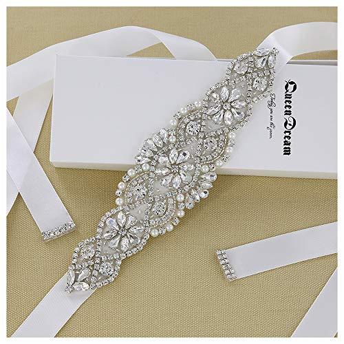 QueenDream Crystal Belt White Satin Bridal Sash Wedding Belt for Bride and Bridesmaid