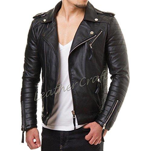 Mens Vintage Black Leather Jacket - 6