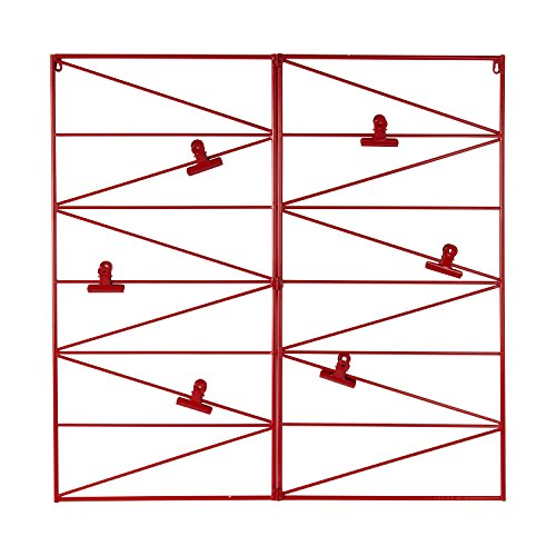 Kate and Laurel Whitt Wire and Clips Metal Geometric Wall Organizer, Red by Kate and Laurel