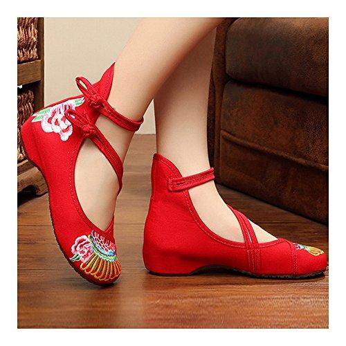 Estilo de de Chino Rojo 40 Bordados Granada Zapatos Eqg5PP