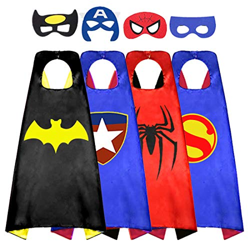 Superhero Cape for Kids, Double-Sided Satin Capes and Mask for Dress Up Costumes (4 Cape) -