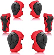 Kids Protective Gear Set, Knee Pads Elbow Pads Wrist Guards 6 in 1 for Skateboard, Rollerblade, Roller Skate,