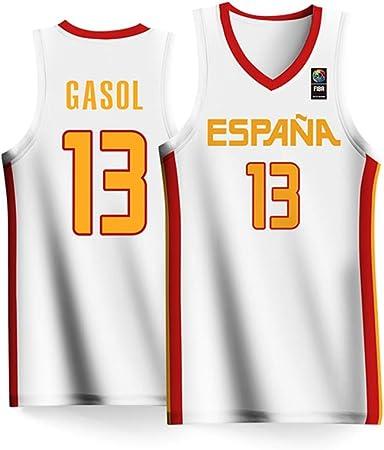 Haoshangzh55 Azul de la Copa Mundial de Baloncesto España Equipo Nº 13 Traje de Baloncesto 2019 Hombres de Marc Gasol Jersey Gran de Hijos Adultos,2XS: Amazon.es: Hogar