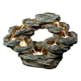 Alpine Tiered Rock Cascading Fountain with LED Lights, 22″ Review