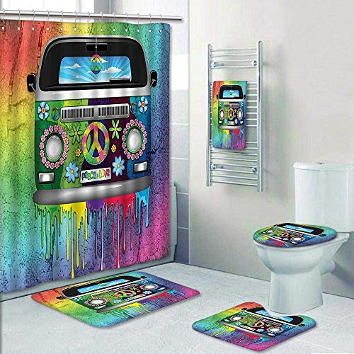 AmaPark 5-Piece Bath Set Hotel Collection with Bath Rug, Shower Curtain, and Bath Towel,Old Style Hippie Van with Dripping Rainbow Paint Mid 60S Youth Revolution Movement Decorate The Bath