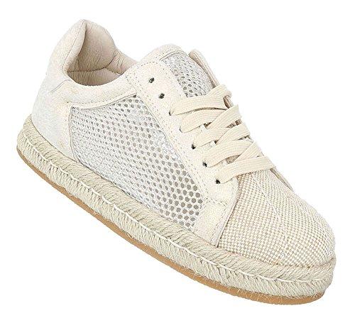 Bast Cap Leder Schuhcity24 Beige Low Toes Damen Flats Espadrilles Halbschuhe Plateau Slipper Damenschuhe Sneakers Schnürer Schuhe Optik sommerliche qaH85ax6