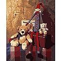 LovetheFamily 数字油絵 数字キット塗り絵 手塗り DIY絵 デジタル油絵 クマとおもちゃの人形 40x50cm ホーム オフィス装飾 手芸・画材 手工芸 キット、芸術、工芸、DIY 手作り 家庭装飾品