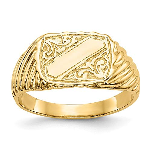 Roy Rose Jewelry 14K Yellow Gold Polished Baby Rectangle Signet w/Stripes Ring ~ Size 2.5