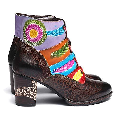 Marche Chunky Chaussures En Lacets Femmes Bottes Gracosy Pour Rtro Zipper Neige Talons Bottines 2018 Plein Nuptiale Air Dark Low Soire Lady De Brown Block Rond Impression Bout Botte qz7Hxw