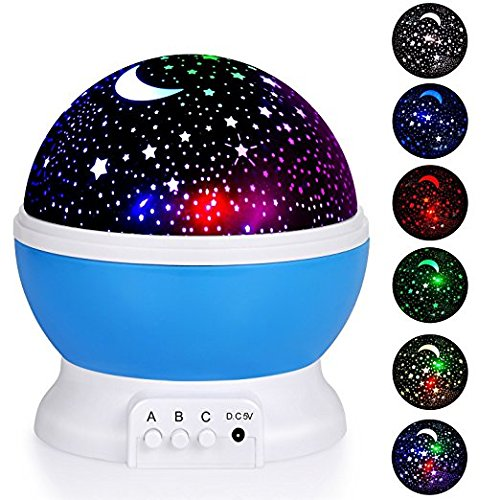 Night Lighting Lamp, Fosa 4 LED Beads 9 Light Color Changing and 360 Degree Romantic Rotating Sky Moon & Cosmos Cover Projector Night Lighting for Kids Bedroom, Best Baby Gift, Christmas Gift (Blue)
