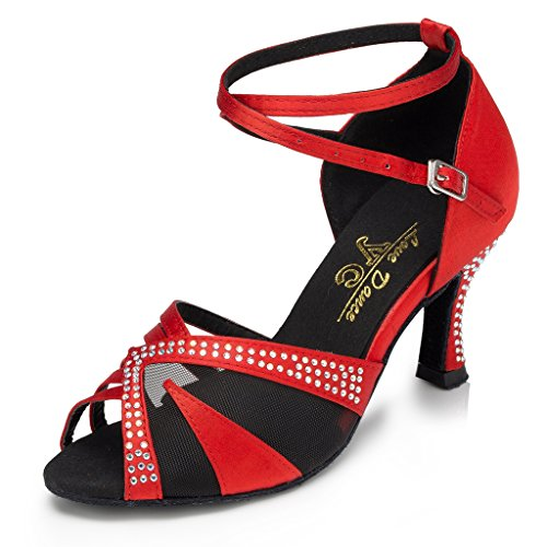 Red Latin Stylish Mesh Dance Shoes Kevin Sandals Wedding Fashion Women's qwECYzT