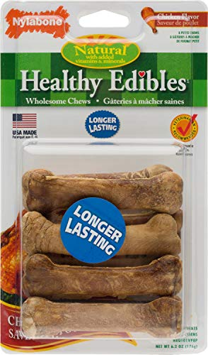 Nylabone Healthy Edibles Dog Chew Treats, Chicken, Petite, 8 Count, 6 Pack