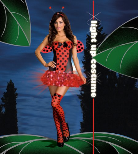 [Women'S Costume: Light Me Up Ladybug- Small - Product Description - Shiny Knit Dress With Jeweled Satin Bow Detail And Layered Petticoat Skirt With Red Unique Fiber Optic Lights And Hidden Pocket For On/Off Switch. Includes Wings, Jeweled Headba] (Light Me Up Ladybug Dress Costumes)
