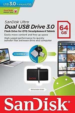 USB Dual SanDisk Ultra 64GB USB 3.0 con conector Micro USB para dispositivos Android