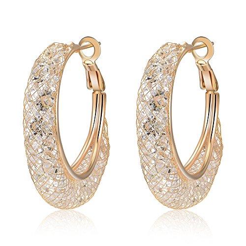 Mytys Rose Gold Womens Hoop Earrings Mesh Crystal CZ Cubic Zirconia Earings Hypoallergenic Round Pierced Big Hoop Earrings