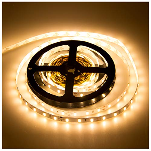 ABEDOE 5630 Led Strip, 5 Meter/Roll Bright 300LED Warm White DC 12V Epistar Chip High CRI Non-Waterproof LED Flexible Tape Band Light Room Decoration (2800-3200K)