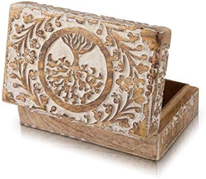 ARTISENIA Bo/îte /à bijoux en bois faite main avec motif arbre de vie pour bague bracelet collier accessoires Cadeau de Saint-Valentin pour elle