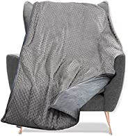 Quility Weighted Blanket with Soft Cover - 15 lbs Full/Queen Size Heavy Blanket for Adults - Heating & Coo