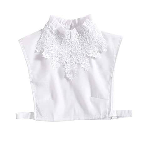 SimpleLife Encaje Bordado Pata de Cuello Falso Cuello Desmontable Falso Blusa Accesorios Blanco
