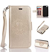 iPhone 5/5S 5SE Case, Kmety Datura Flowers PU Synthetic Leather Wristlet Magnet Snap Wallet [Credit Card/Cash Slots] Kickstand Flip Case Cover for Apple iPhone 5/5S 5SE