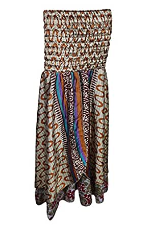 Womens Skirt Dress 2 In 1 Strapless Maxi Skirts Sabra Recycled Silk Two Layer (Grey, Brown)