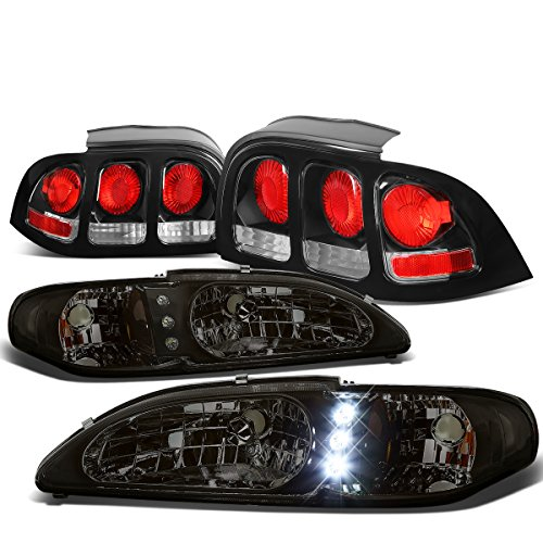 For Ford Mustang SN95 Pair of Smoked Lens Amber Corner LED DRL Headlight + Black Altezza Style Tail Light