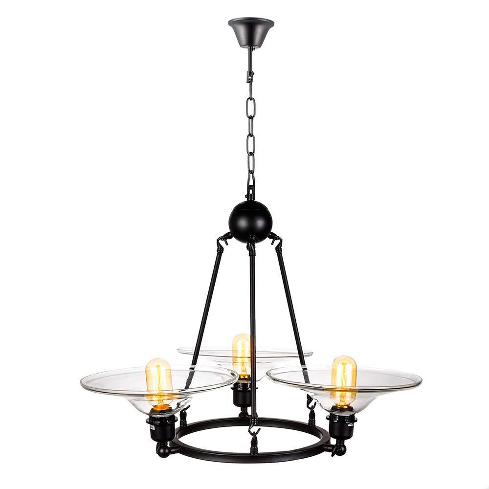 ACACVA 3-Licht-Kronleuchter, schwarz Antique Pendant Lighting E27 Ceiling Light mit Glasschatten für Schlafzimmer Living Room Restaurant Bar Küche