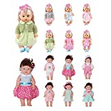 Huang Cheng Toys Set of 12 for 12-13-14-15-16 Inch Alive Lovely Baby Doll Clothes Dress Outfits Costumes Dolly Pretty Doll Cloth Handmade Girl Christmas Birthday Gift