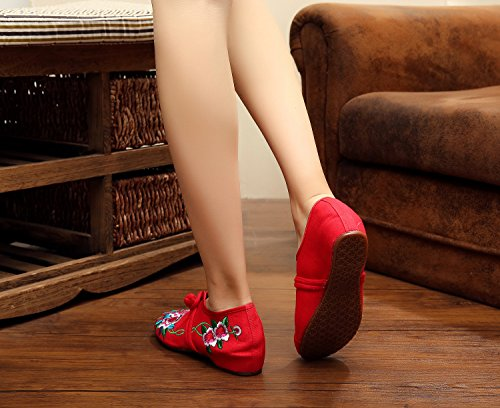 AvaCostume Womens Chinese Embroidery Casual Walking Shoes Red lOspcyYkeI