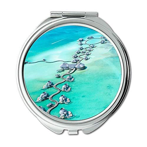 Mirror,Compact Mirror,aerial view beach clear,pocket mirror,portable -